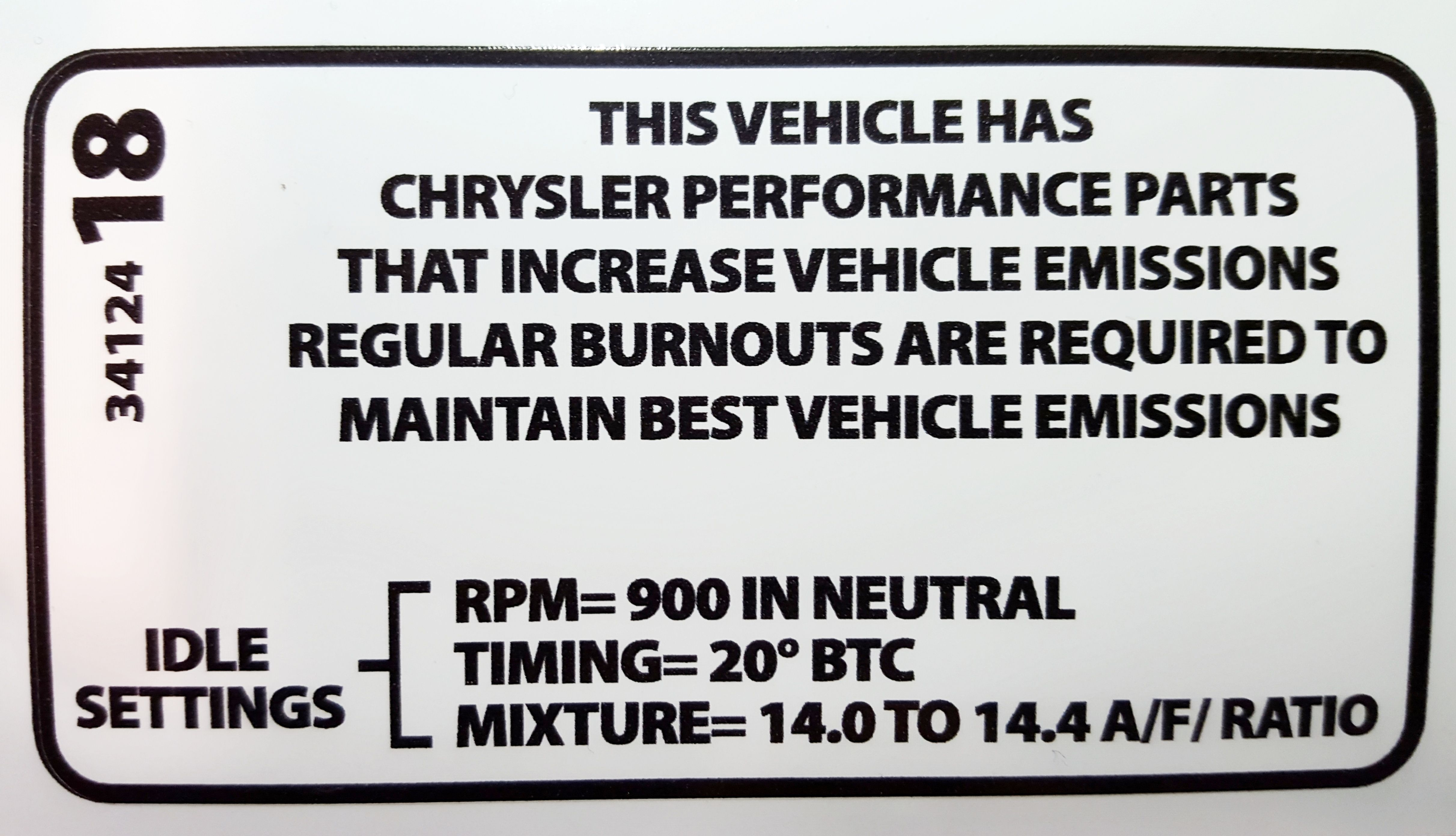Chysler Emissions Decal
